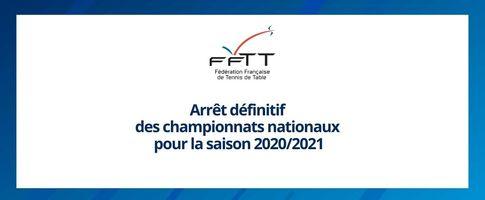 02/04/21 :  Arrêt définitif des championnats nationaux